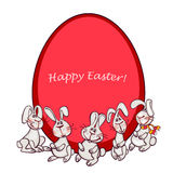 Easter bunny. Happy easter card. easter  bunny and eggs Stock Image