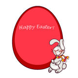 Easter bunny. Happy easter card. easter  bunny and red egg Royalty Free Stock Image