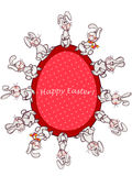 Easter bunny. Happy easter card. easter  bunny and red egg Stock Photo