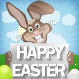 Easter Bunny with Happy Easter Stock Photography