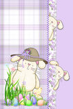 Easter bunny with hat  on purple plaid Stock Photo