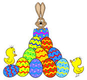 Easter bunny hatching from an egg Royalty Free Stock Photos