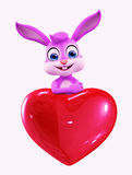 Easter Bunny with heart sign Stock Images