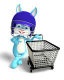 Easter Bunny with helmet and shopping trolley Royalty Free Stock Image