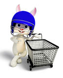 Easter Bunny with helmet and shopping trolley Stock Photo