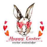 Easter bunny hipster. Watercolor. Vector. Happy Easter. Royalty Free Stock Images