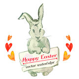 Easter bunny hipster. Watercolor. Vector. Happy Easter. Stock Photo
