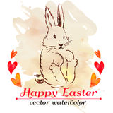 Easter bunny hipster. Watercolor. Vector. Happy Easter. Royalty Free Stock Photography