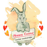 Easter bunny hipster. Watercolor. Vector. Happy Easter. Royalty Free Stock Photo