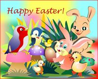 Easter Bunny and his friends. In the centre of the image there is Bunny that holds an egg between his fingers. There are some little birds and chicks around him Royalty Free Stock Photo
