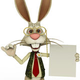 Easter bunny holding a blanc page close up Stock Images