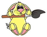 Easter Bunny holding a brush Stock Photography