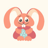 Easter bunny holding Easter egg outline red Royalty Free Stock Photography