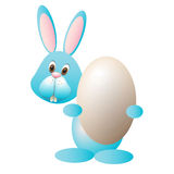 Easter Bunny holding egg-vector illustration Royalty Free Stock Image