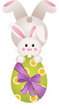 Easter bunny holding a large chocolate egg stock illustration