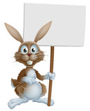 Easter bunny holding sign Stock Photo