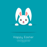 Easter Bunny in hole. Easter Bunny pop out of the hole. Vector illustration. Blue background with Easter funny rabbit Stock Photography