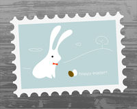 Easter bunny. Easter holiday greeting card, cute easter bunny with egg Royalty Free Stock Images