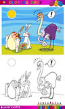 Easter bunny humor cartoon for coloring. Coloring Book or Page Cartoon Illustration of Easter Bunny Painting on Eggs Shells Royalty Free Stock Image