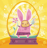Easter Bunny inside of snow-dome Stock Images