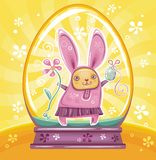 Easter Bunny inside of snow-dome stock illustration