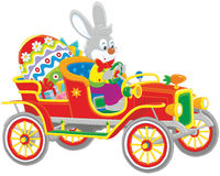 Easter Bunny in its retro car Stock Photo
