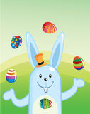 Easter Bunny Juggling Eggs royalty free stock photo