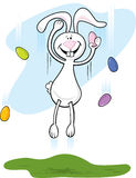 Easter Bunny Jumping Stock Images
