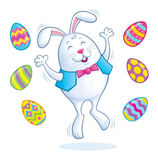 Easter Bunny Jumping for Joy Royalty Free Stock Photo