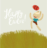 Easter bunny jumping. nice colors cartoon card. Stock Image
