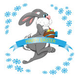 Easter Bunny jumps and collects Easter eggs on white background Stock Image