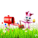 Easter Bunny With letter box Stock Photos