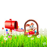 Easter Bunny With letter box Royalty Free Stock Photography