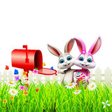 Easter Bunny With letter box Stock Photo
