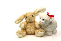 Easter bunny with a little spring lamb Royalty Free Stock Photography
