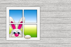 Easter bunny looking by the window. With place for text Stock Image