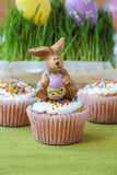 Easter bunny on the maffin Stock Photo