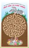 Easter bunny maze for kids! stock illustration