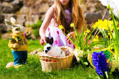 Easter bunny on meadow with basket and eggs Royalty Free Stock Images
