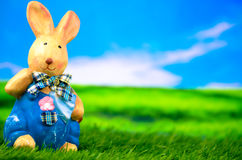 Easter bunny on a meadow. Easter bunny on a green meadow Stock Images