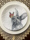 Easter Bunny with a Monarch Butterfly Plate