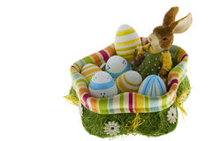 Easter bunny in the nest with eggs Royalty Free Stock Photos