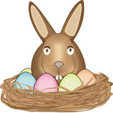 Easter Bunny in nest Stock Photo