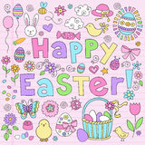 Easter Bunny Notebook Doodles Vector Set Stock Images