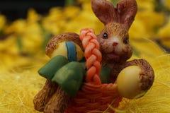 Easter Bunny in an Orange Basket stock image