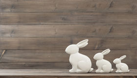 Easter bunny over wooden background Royalty Free Stock Image
