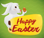 Easter Bunny Paint a Sign with Easter Greeting, Vector Illustration Royalty Free Stock Image