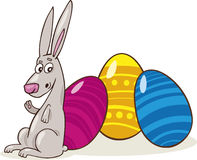 Easter Bunny with painted Eggs Royalty Free Stock Photos