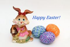Easter bunny and painted eggs - Easter symbol stock images