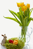 Easter bunny with Painted Ester eggs Royalty Free Stock Photos